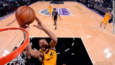 Rudy Gobert of Utah Jazz shoots during the game against the Sacramento Kings.
