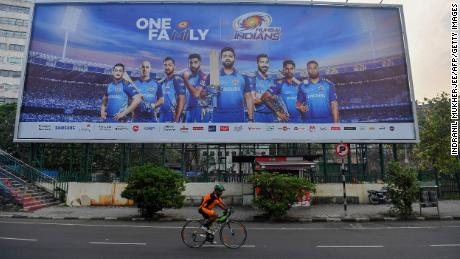 A hoarding displays players from the Mumbai Indians.