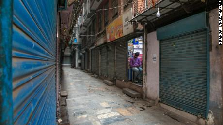 Shops closed during the first day of lockdown in Kathmandu, Nepal, April 29, 2021.