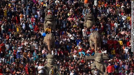 Nepali devotees observing the first day of the Biska or Bisket Jatra at Taumadi, Bhaktapur, Nepal on April 10, 2021.