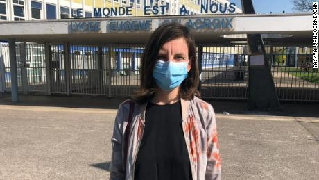 "Colleen Brown teaches English at Eugene Delacroix high school. She says French classrooms have been kept open ""at all costs"" during much of the coronavirus pandemic."
