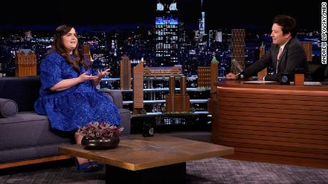 THE TONIGHT SHOW STARRING JIMMY FALLON -- Episode 1454 -- Pictured: (l-r) Actress Aidy Bryant during an interview with host Jimmy Fallon on Monday, May 3, 2021 -- (Photo by: Andrew Lipovsky/NBC)