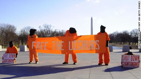 Demonstrators protest the detention of Uyghurs at Guantanamo Bay on February 12, 2009 in Washington, DC, near the Lincoln Memorial.