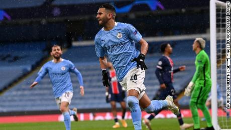 Riyad Mahrez scored twice on Tuesday to fire Manchester City past PSG.