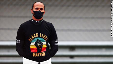 Hamilton wears a Black Lives Matter shirt on the grid before the F1 Grand Prix of Turkey.