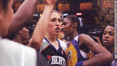 Rebecca Lobo looks on during the WNBA opening game between the New York Liberty and the Los Angeles Sparks.