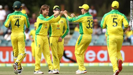 Adam Zampa of Australia  celebrates after taking the wicket of Shreyas Iyer of India during game three of the One Day International series between Australia and India at Manuka Oval on December 02, 2020 in Canberra, Australia.