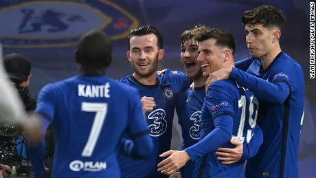 Chelsea players celebrate Timo Werner's goal against Real Madrid.
