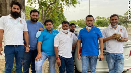 Srinivas B.V (center) and his team of the Indian Youth Congress, in New Delhi, India, on May 5.