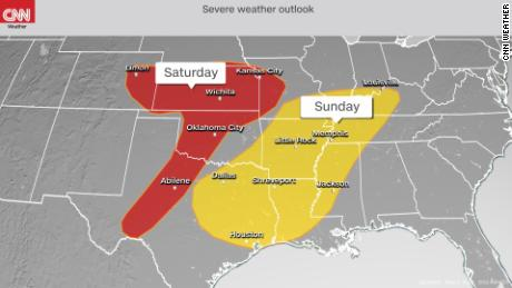 Swaths of the nation's midsection face the same severe weather risk Saturday or Sunday.
