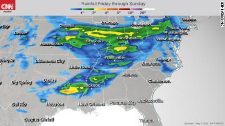 Forecast rainfall accumulation Saturday through Sunday