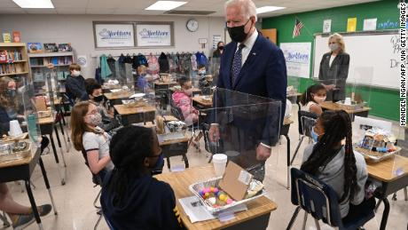 President Joe Biden, here visiting Yorktown Elementary School in Yorktown, Virginia, earlier this month, made reopening schools safely a key goal for his administration.