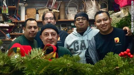 Florist George Spetsieris and team at his shop, Ultima Florals, in Queens, New York.
