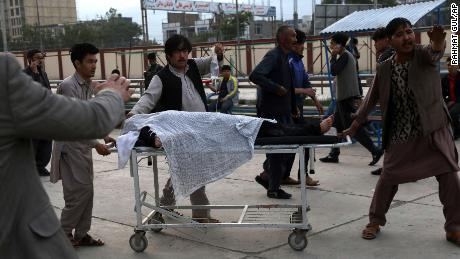 A student is transported to a hospital after the blast on Saturday.