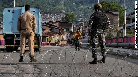 Central Reserve Police Force at a temporary check point during Covid-19 Corona Curfew in Baramulla, Jammu and Kashmir, on May 9.