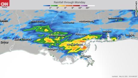 Forecast rainfall through Monday evening