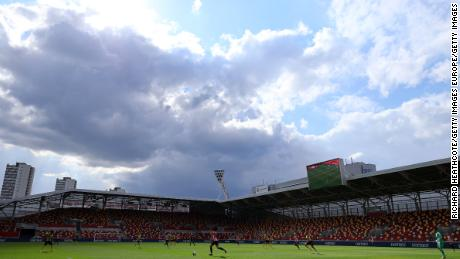A general view of play during the Sky Bet Championship match between Brentford and Watford at Brentford Community Stadium on May 01, 2021 in Brentford, England.)