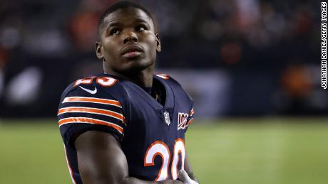 Running back Tarik Cohen of the Chicago Bears looks on before playing against the Kansas City Chiefs at Soldier Field on December 22, 2019 in Chicago, Illinois.