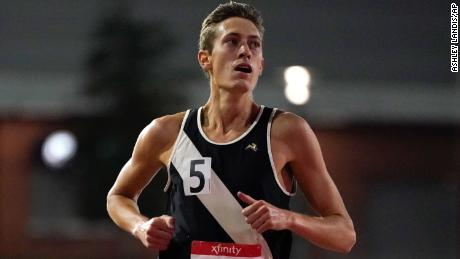 Mason Ferlic wins the men's 5000m during the USATF Golden Games in Walnut, California, on May 9.