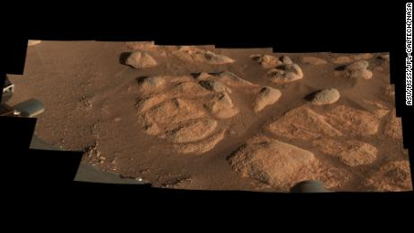 The rover took a closer look at some interesting rocks on the crater floor.