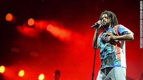 J. Cole headlines the main stage at the Wireless Festival 2018 at London's Finsbury Park, July 6, 2018.