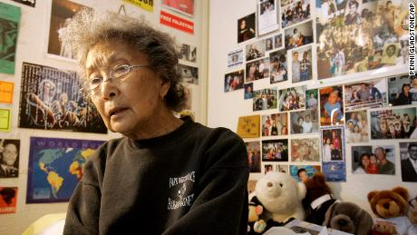 In this 2005 photo, Yuri Kochiyama is surrounded by notes and memorabilia in her apartment in Oakland, California. She died in 2014 at age 93.