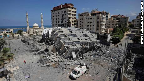 A destroyed building is seen in Gaza City on Wednesday.