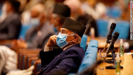 Nepal's former Prime Minister K.P. Sharma Oli inside parliament in Kathmandu on May 10.