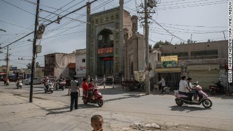A street near a mosque in Xinjiang, China, Aug. 5, 2019.