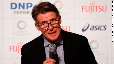 Coe attends a news conference after a test event for the Olympic marathon in Sapporo on May 5.
