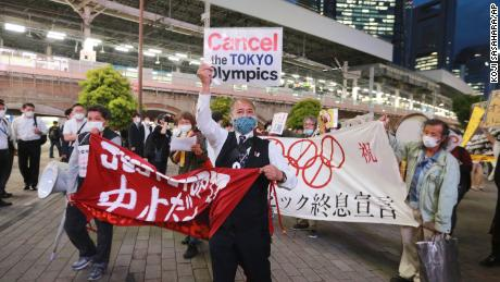 Demonstrators protest against the Olympics in Tokyo on May 17.