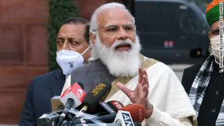 Narendra Modi, India's prime minister, during a news conference at Parliament House on the opening day of the Budget Session in New Delhi, India, on  January 29.