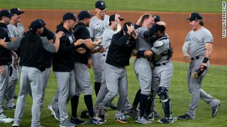 Kluber, third from right, celebrates with teammates after completing a no-hitter Wednesday.