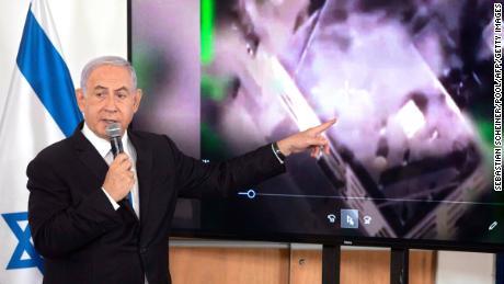 Israeli Prime Minister Benjamin Netanyahu briefs ambassadors to Israel at the Hakirya military base in Tel Aviv on Wedneday.