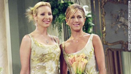 Lisa Kudrow as Phoebe Buffay and Jennifer Aniston as Rachel Green in 'The One With Monica and Chandler's Wedding,' first broadcast in 2001.