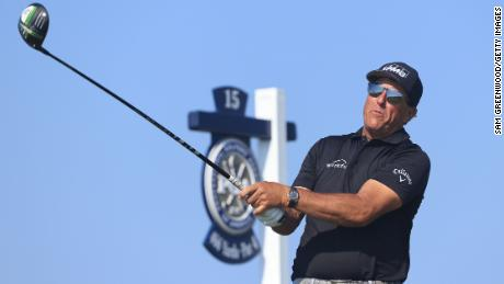 Mickelson plays his shot from the 15th tee during the second round of the 2021 PGA Championship.