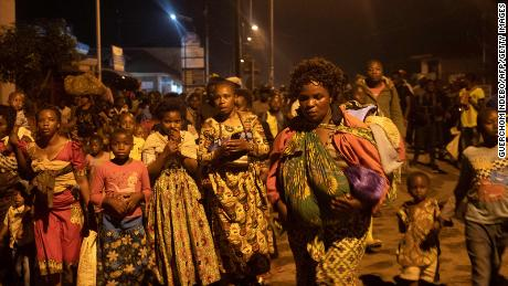 Some residents of Goma in the Democratic Republic of Congo left the city following the sudden eruption of the Nyiragongo volcano on Saturday.