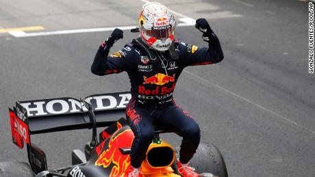 Verstappen celebrates after winning the Monaco Grand Prix.