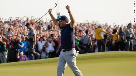 Mickelson celebrates after winning the PGA Championship.