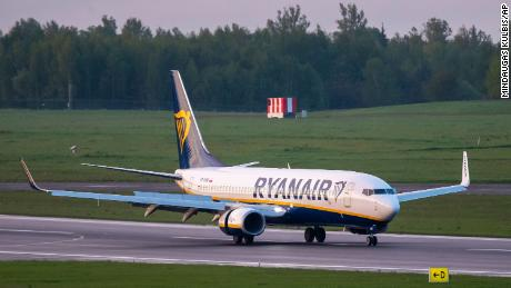 The Ryanair plane lands at the airport outside Vilnius, Lithuania, Sunday, May 23, 2021.
