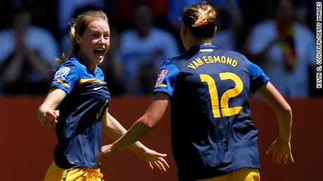 Perry celebrates her goal against Sweden at the 2011 Women's World Cup.