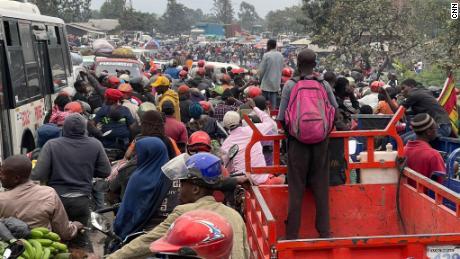 Traffic on the road towards Sake was at standstill on Thursday.