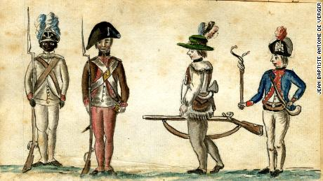This watercolor from the American War of Independence  depicts, from left to right, a black soldier of the First Rhode Island Regiment, a New England militiaman, a frontier rifleman, and a French officer. An estimated 5,000 African-American soldiers fought in the Revolutionary War.
