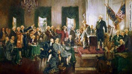 A painting documenting the signing of the United States Constitution in 1787.