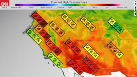 Forecast high temperatures in the Southwest this weekend