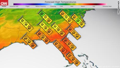 Forecast high temperatures in the Southeast this weekend