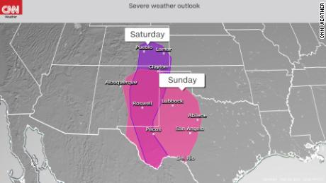 Storm Prediction Center's severe weather outlook, with purple shading indicating the risk on Saturday into Saturday night and the pink shading indicating the risk on Sunday into Sunday night.