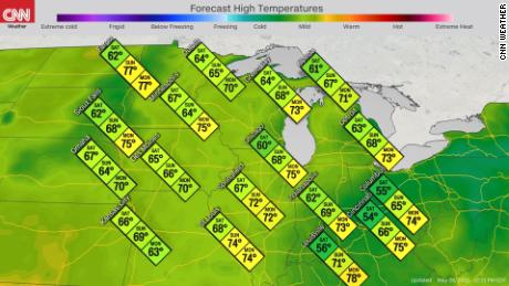 Forecast high temperatures in the Midwest this weekend