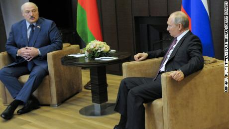 Russian President Vladimir Putin meets with his Belarusian counterpart Alexander Lukashenko in Sochi, Russia, on Friday May 28.