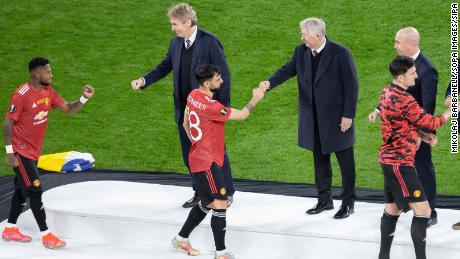 Sir Alex Ferguson (c) was part of the medal ceremony after the Europa League final this year.